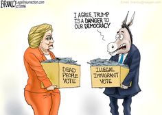Wanted Dead or Alive   :::   Danger to Democracy? Trump?  Hillary and the media claim Trump is a danger to democracy while it's being reported that Dead people and Illegal immigrants are voting Democrat. Cartoon by A.F. Branco ©2016 ...
