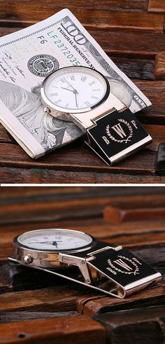 Monogrammed Watch Money Clip