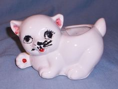 Vintage White Porcelain Cat Kitten Planter Vase