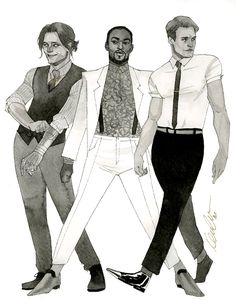 by Kevin Wada  MCU Bucky, Sam, and Steve HeroesCon 20414 sketch Bucky's grin is a bit uncanny, but I never promised amazing likenesses for these. We went the fashion route for these three, and I didn't have too much focus on making them terribly character appropriate - I just wanted them to look goooood.