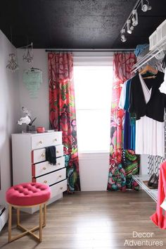 A closet is the perfect place to have fun with decor. Paint a ceiling, bring in bright accents, or add wallpaper to add pizazz to your closet.