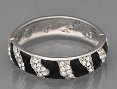 Zebra Rhinestone/Crystal Lightweight Metal Hinged Bangle Bracelet by Jersey Bling: Jewelry: Amazon.com