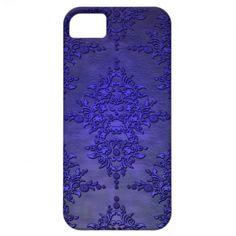 Beautiful Cobalt Blue Damask iPhone 5 Cases