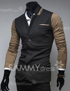 f740900e5ed  14.06 Fashion Stand Collar Single Breasted Color Block Long Sleeves  Polyester Blazer For Men Men Closet