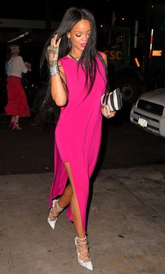 Rihanna opted for a loose-fitting vest dress and Christian Louboutin lace-up pumps for dinner out in New York.