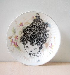 Hand painted plate original drawing by prettylittlethieves on Etsy - How fabulous is this plate?!