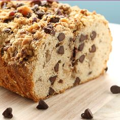 Chocolate Chip Streusel Bread - Sprinkled with Flour Just Desserts, Delicious Desserts, Dessert Recipes, Yummy Food, Breakfast Recipes, Breakfast Items, Muffins, Chocolate Chip Bread, Dessert Bread