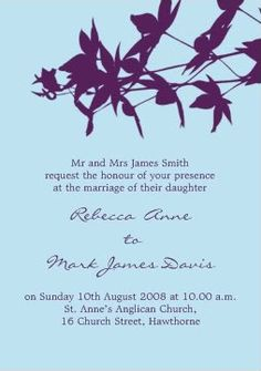 I love the color scheme.  The invitation is both modern (in design) and traditional (in wording/format)