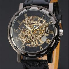 GEMIXI NEW Skeleton Watch Classic Men's Black Leather Dial Skeleton Mechanical Sport Army Wrist Watch Drop Shipping