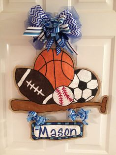 Sports themed burlap door hanger