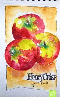 HONEYCRISP | watercolor sketch... www.twig2neststudio.blogsp… | Flickr Watercolor Fruit, Watercolor Sketchbook, Watercolor Projects, Pen And Watercolor, Watercolour Tutorials, Art Sketchbook, Watercolor Paintings, Watercolours, Watercolor Ideas