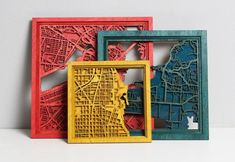 Chicago Laser Cut Map With Minimal Shadowbox Frame- city map