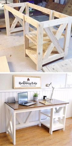 14 Woodworking Items that Sell DIY Farmhouse Desk plans that will make your home office pop! Need an office farmhouse desk to spice up the home office? Look no more! These Farmhouse Desk Plans will make your home office come to life. Woodworking Desk Plans, Easy Woodworking Projects, Diy Pallet Projects, Woodworking Furniture, Home Projects, Diy Furniture Plans Wood Projects, Woodworking Classes, Furniture Ideas, Unique Woodworking