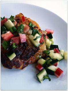 evil chef mom: spicy chicken with rhubarb cucumber salsarhubarb-cucumber salsa, spicy oven-roasted chicken