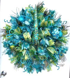 Deco Mesh Wreath-Christmas Wreath Peacock by SeasonalWreaths