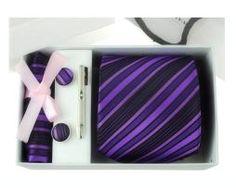 Luxusná kravatová súprava s fialovým pásikavým vzorom http://www.luxusne-doplnky.eu
