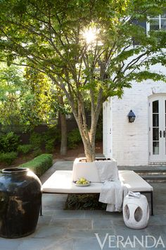 build a benching system around a tree to create a nice sitting space, it adds interest to your exterior