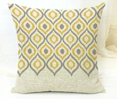 Yellow and Grey Modern Tribal Geometric Pattern Throw Cushion Cover Rouse the Room Cushion Cover Designs, Cushion Covers, Throw Pillow Covers, Sofa Covers, Modern Throw Pillows, Throw Cushions, Designer Throw Pillows, Home Goods Decor, Tribal Patterns