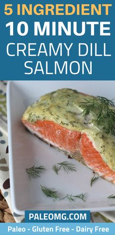 Who has time to spend hours in the kitchen? Come see how easy this 5 ingredient salmon dinner is. This 10 minute salmon dinner will have you doing a little happy dance. We almost forgot to t Grilled Salmon Recipes, Fish Recipes, Seafood Recipes, Paleo Recipes, Paleo Ideas, Dill Sauce For Salmon, Dill Salmon, Healthy Fried Rice, Healthy Eats