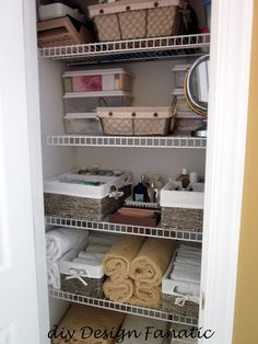 Bathroom closet organization diy master bath 59 new ideas Bathroom Closet Organization, Bathroom Linen Closet, Entryway Closet, Master Bedroom Closet, Organization Hacks, Linen Closets, Master Bath, Organizing Ideas, Hall Closet