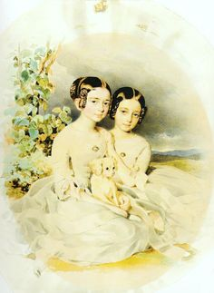 """""""Portrait of Aniela (later Giełdowa) with her Sister Waleria"""" (1850) by Alojzy Reichan (Polish,1807-1860), watercolour on paper, The National Museum in Wrocław."""
