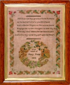 A 19th Century English Sampler Stitched By Mary Fogg & Dated 1838