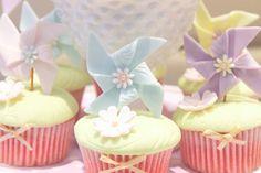 Pinwheel cupcake decorations! #party #decorations #yummy