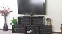Apple crate TV stand done...perfect! My DIY