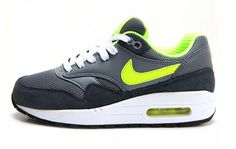 7aba65003e Nike Air Max 1 Gs Big Kids 555766-045 Grey Volt Running Shoes Youth Size