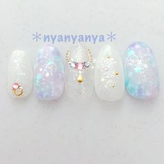 beauty Wedding Invitations: Things the Bride Should Know Article Body: Weddings are a very special t Korean Nail Art, Korean Nails, Kawaii Nail Art, Cute Nail Art, Bridal Nails, Wedding Nails, Asian Nails, Classy Nail Art, Nails Only