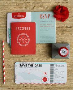 Destination Wedding Invitation 招待状をパスポートと航空チケットに見立てたユニークな作品で、本物そっくりのクオリティーにもこだわっています。
