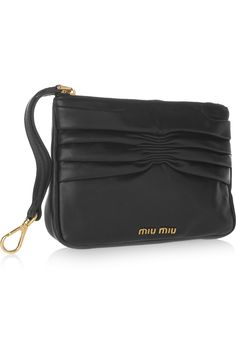 MIU MIU  Leather pouch and packaway shell shopper