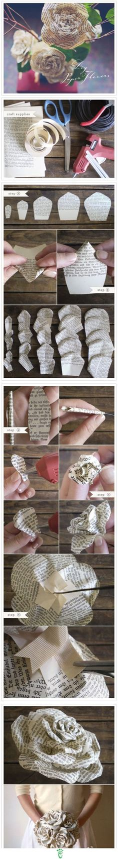 This could be so cool for a rehearsal bouquet if made with copies of old maps, historic photos and Sanborns