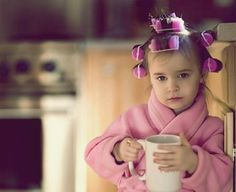 Oh this is so funny and what my little sister actually looked like as a tot.   She drank coffee every morining...