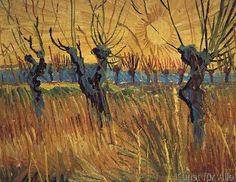 Vincent van Gogh - Pollarded Willows and Setting Sun, 1888