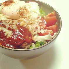 だいぶ前の・・(;´,∀,`)ゞ ロコモコ丼。めちゃ美味しかった♡ , 41件のもぐもぐ , いつかの親子お昼ごはん by Megumi Goto