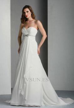 Vestido de novia Plisado Falta Corte-A Cola Capilla primavera Blusa plisada
