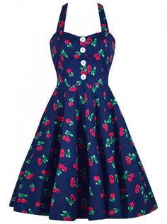 Retro Dresses Retro Gal Cherry Print Swing Dress - This Made in the USA cherry print swing dress is the perfect go to pinup dress! Smocking in back for added stretch, comfort, and impeccable fit makes this dress a must! Fifties Fashion, Rockabilly Fashion, Retro Fashion, Vintage Fashion, Fifties Style, Rockabilly Dresses, Gothic Fashion, Fashion 2018, Steampunk Fashion