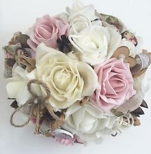 Pink And Ivory Roses Buttons Dried Flowers Hessian Rustic Brides Wedding Bouquet
