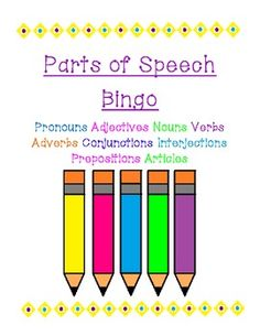 This freebie is a great way for students to test their ability to quickly recognize the different parts of speech. Nouns, pronouns, adjectives, verbs, adverbs, conjunctions, prepositions, interjections, and articles are included in this parts of speech review game.