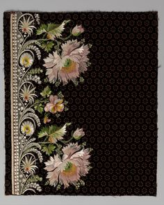Embroidery sample for a man's suit.   Date: 1800–1815. Culture: French. Medium: Silk embroidery on silk velvet. Dimensions: L. 13 1/4 x W. 11 1/8 inches (33.7 x 28.3 cm) Classification: Textiles-Embroidered
