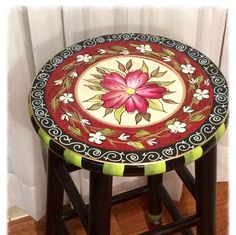This stool was painted at the request of my customer, who liked the design of the lazy susan I have listed, but wanted it on a kitchen stool. Voila! Gorgeous. What a great idea. And thats what I love. Custom ideas. Custom designs. Custom colors. Maximum flexibility!! Need a