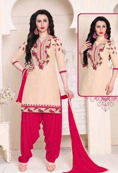 Cream,Pink Cotton Patiala Suit #patialasuit #punjabisuit #phulkari #shalwarkameez #shalwar  #salwarsuits #designer #ceremonial #suit #suitsonline #stylish #womenwear #womenclothing #nikvik  #usa #designer #australia #canada #malaysia #UAE #freeshipping. Sign up and get USD100 worth vouchers.