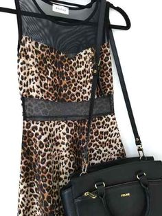 Vestido Fiesta Animal Print Leopardo Encaje Transparencias  - $ 650,00