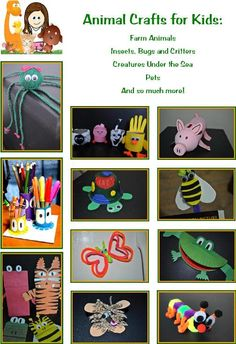 Fun and easy animal crafts for kids! Learn all about the animal kingdom, insects and critters, creatures that live under the sea, pets and so much more! www.easy-crafts-for-kids.com/animal-crafts-for-kids.html
