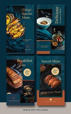 Instagram story template collection for ... | Premium Psd #Freepik #psd #food #menu #template #restaurant Story Instagram, Instagram Story Template, Food Instagram, Instagram Templates, Pumpkin Drinks, Interior Design Instagram, Restaurant Poster, Breakfast Specials, Food Menu Design