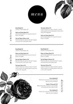 DIY Menu Templates - Easil's Menu Maker makes it easy to create editable, professional looking menus.  Black and White floral menu design.