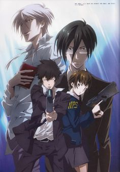 Psycho-Pass ~~ Akane, Nobuchika, Shinya and Shogo :: Official art