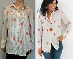 Chicos Medallion Striped Shirt Womens Size Medium 8 Tan Beige Red Embroidered #Chicos #ButtonUp #Business Button Up, Tunic Tops, Blouses, Beige, Medium, Business, Sleeves, Red, Shirts
