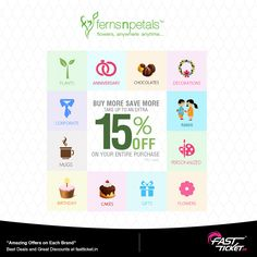 @FernsNPetals Get 15% off Free discount coupon for every transaction on Fastticket.in